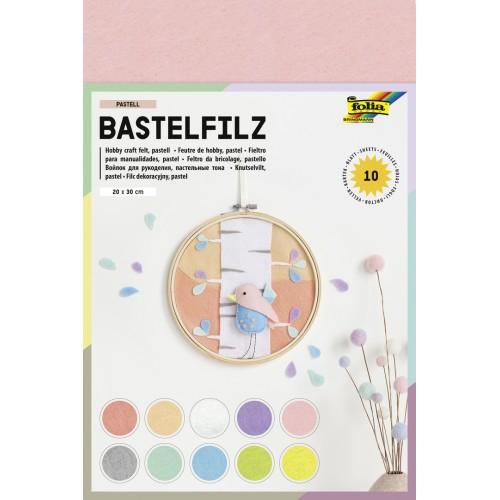 Set creativ Felt Pastel, 10 bucati de pasla asortate, 20x30 cm, Folia