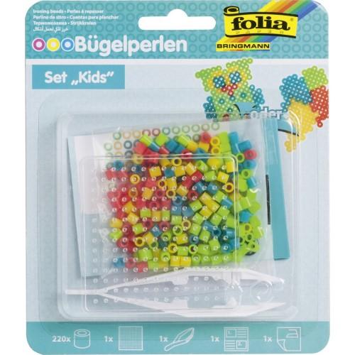 Set creativ Kids, cu margele de calcat si suport patrat, Folia.