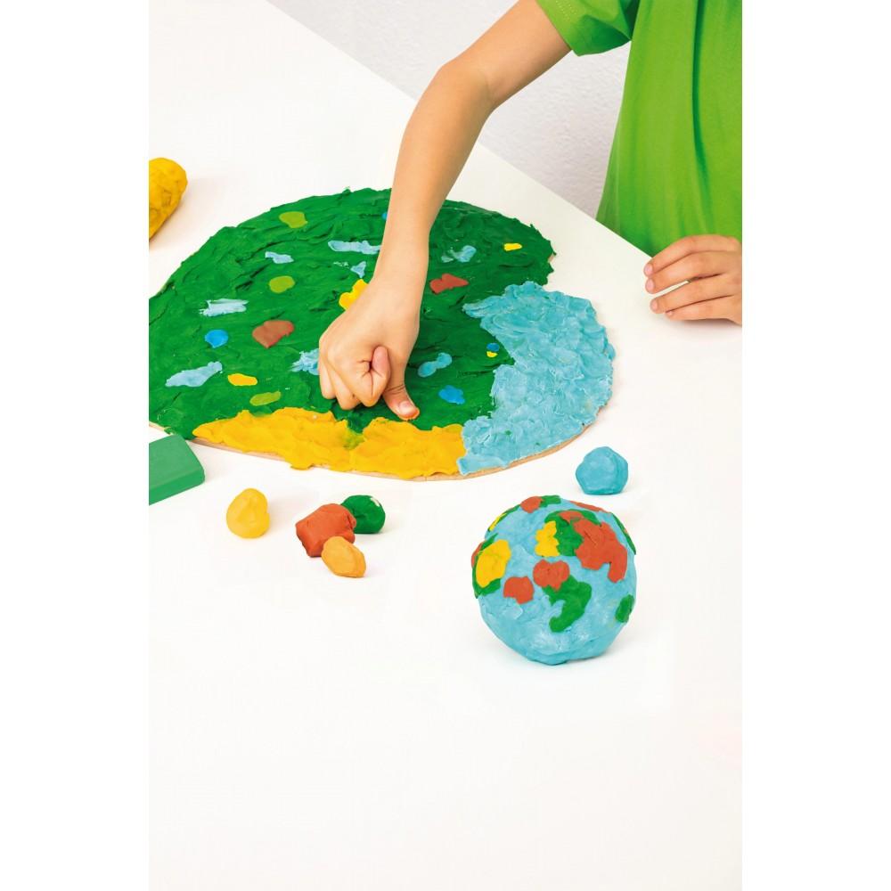 Plastilina 6 culori, display 18 buc x 50 g Jovi Nature