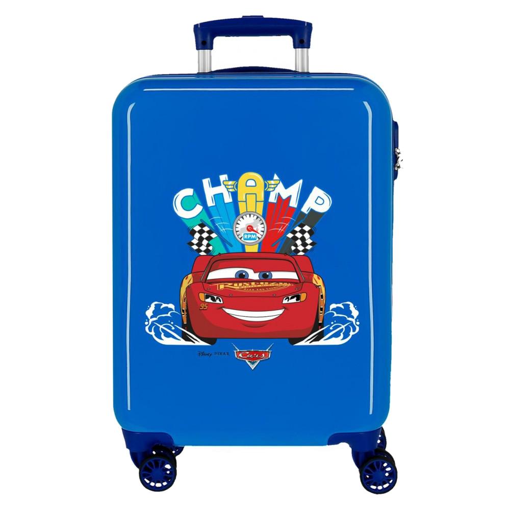 Troler copii, cabina, ABS albastru Cars Champ, 55x38x20 cm