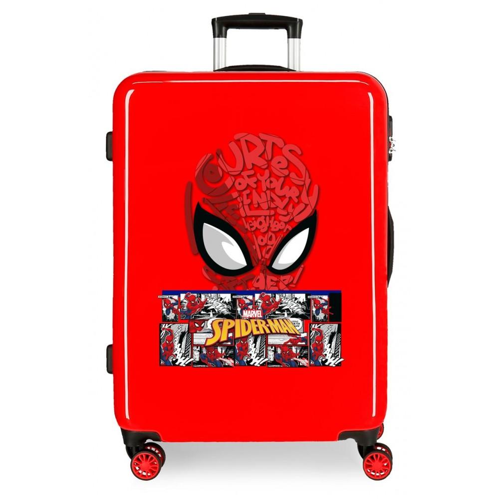 Troler mediu ABS Spiderman Comic, rosu, 48x68x26 cm