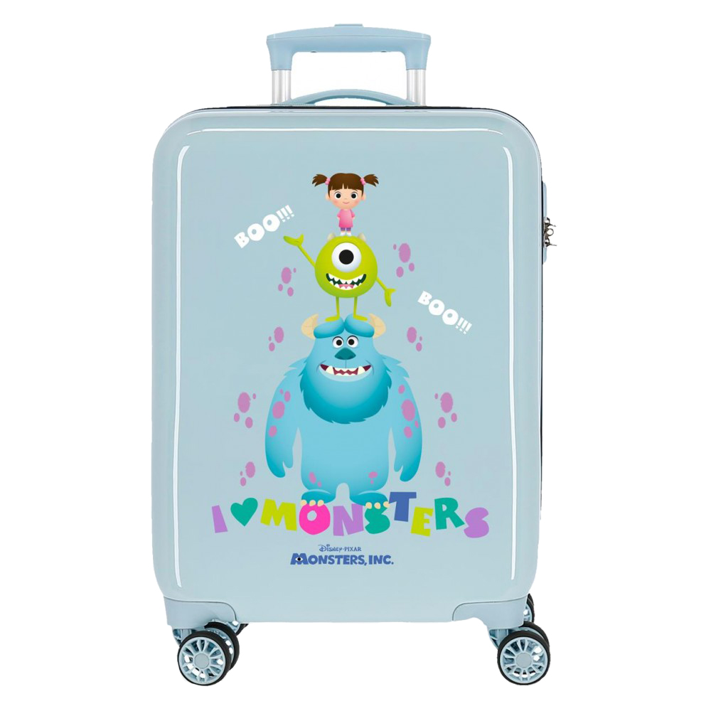 Troler copii, cabina, ABS Family Pixar Boo!, albastru deschis, 55x38x20 cm