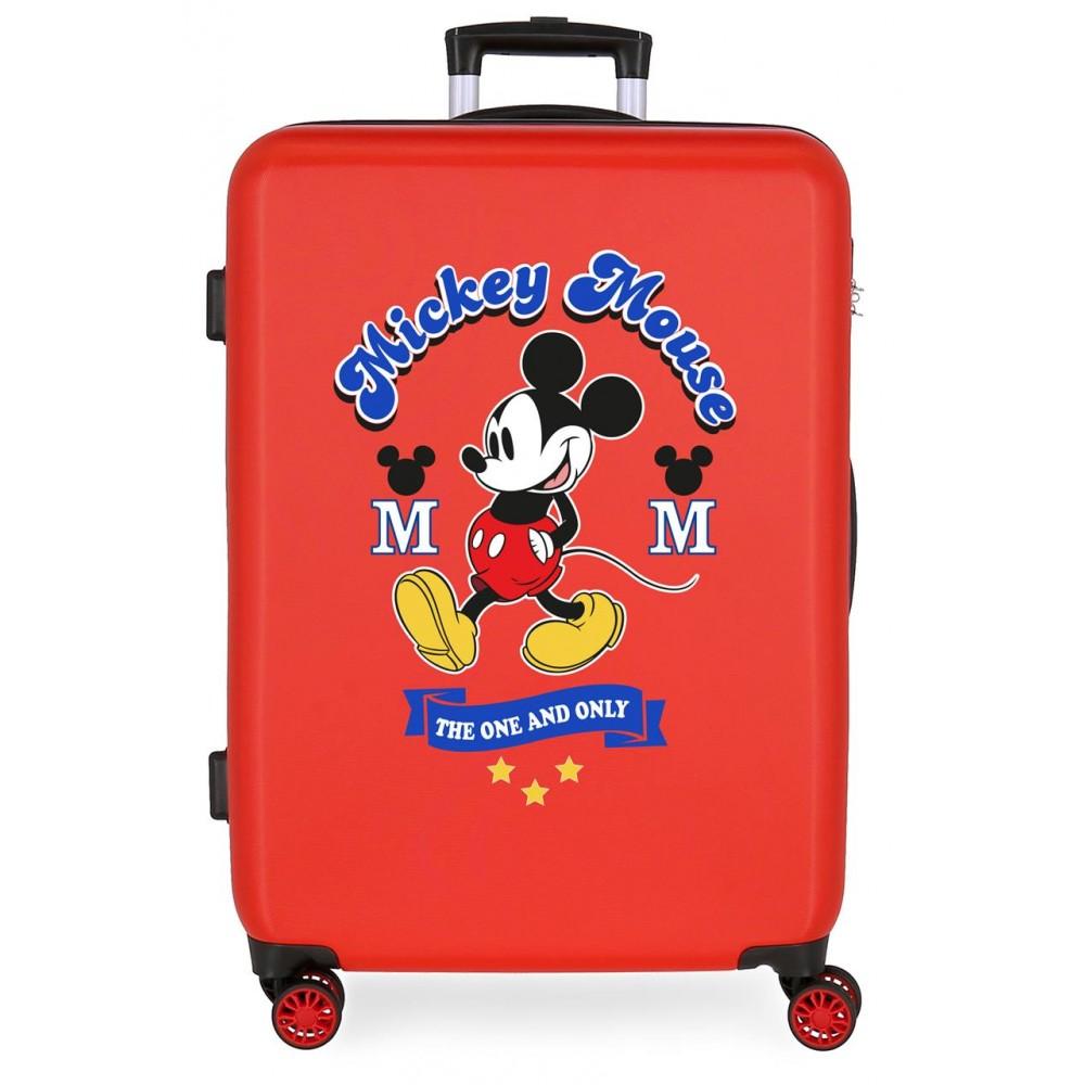 Troler mediu ABS Mickey The One, rosu, 48x68x26 cm