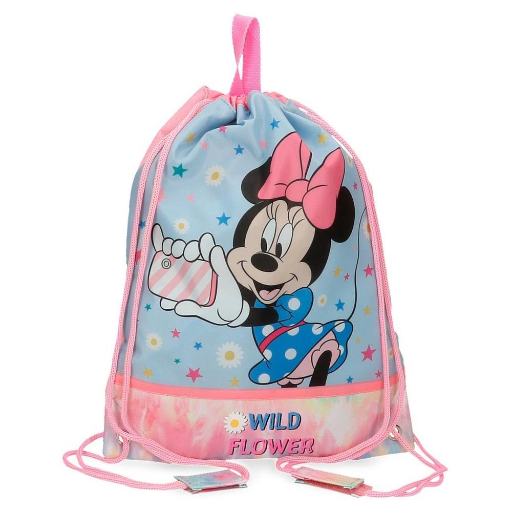 Sac scoala fete, Minnie Wild Flower, multicolor, 27x34 cm