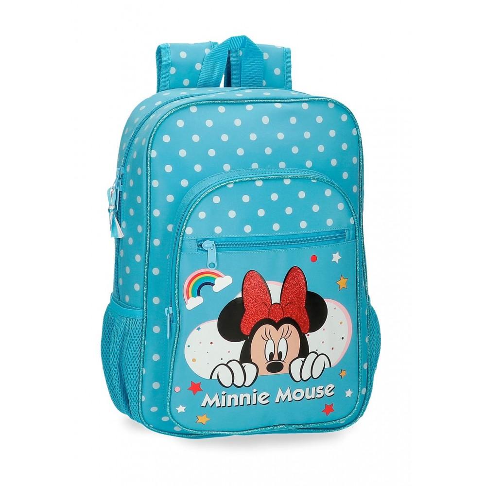 Ghiozdan fete scoala Minnie Rainbow bleu, 29x38x12 cm