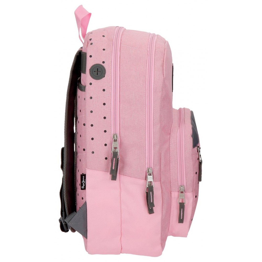 Rucsac casual fete, 2 compartimente Pepe Jeans Molly, roz, 30.5x44x15 cm