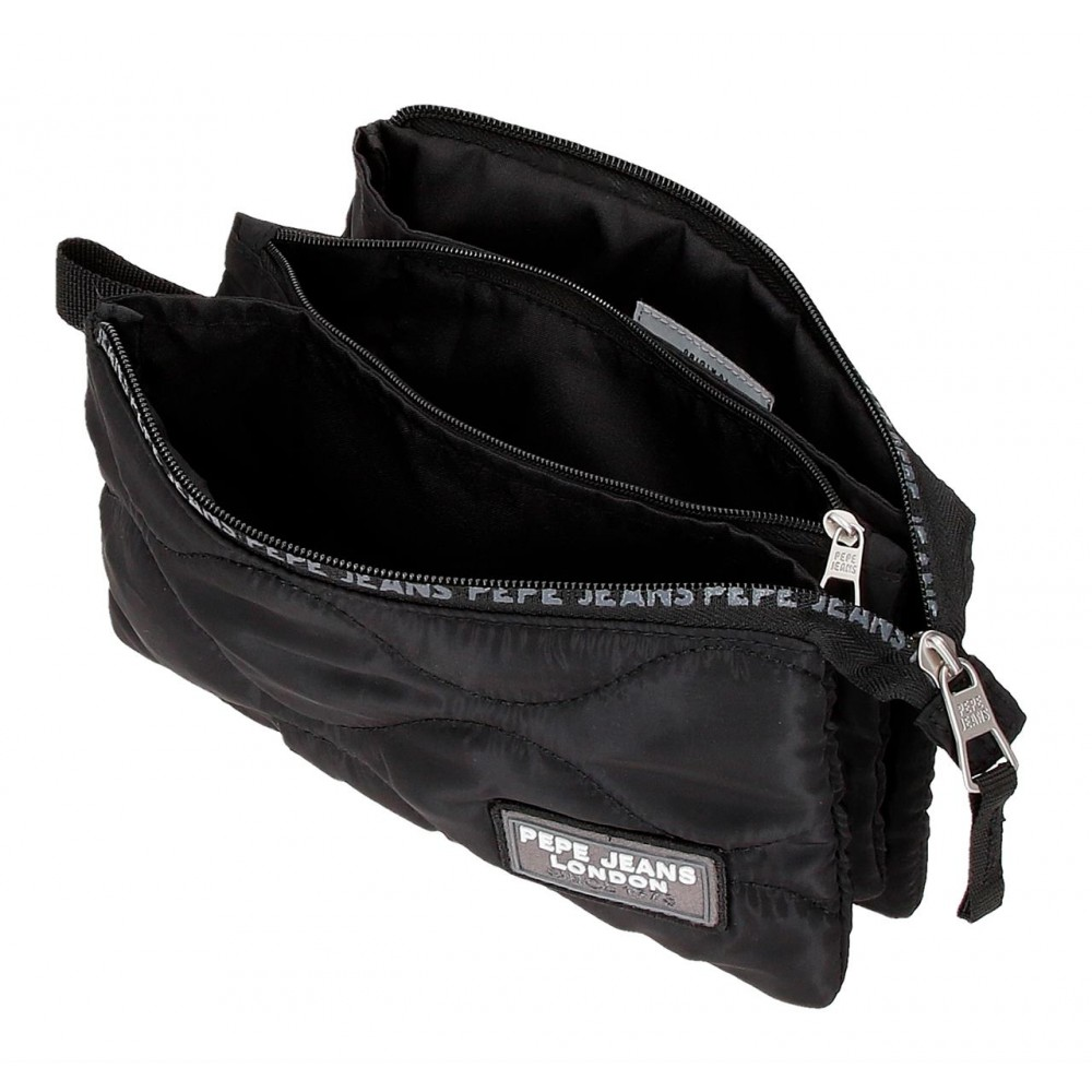 Penar 3 compartimente Pepe Jeans Orson, negru, 22x12x5 cm