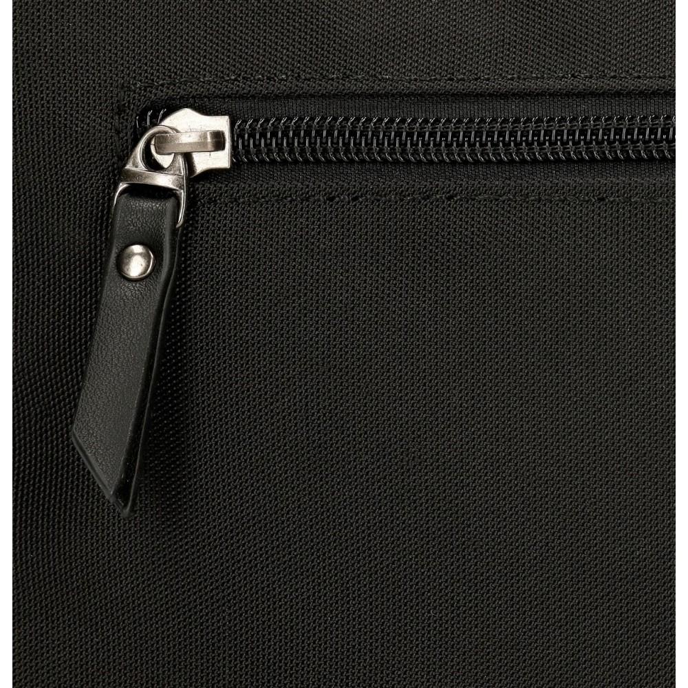 Geanta crossbody dama, 2 compartimente Pepe Jeans Mia, neagra, 25x18x7 cm