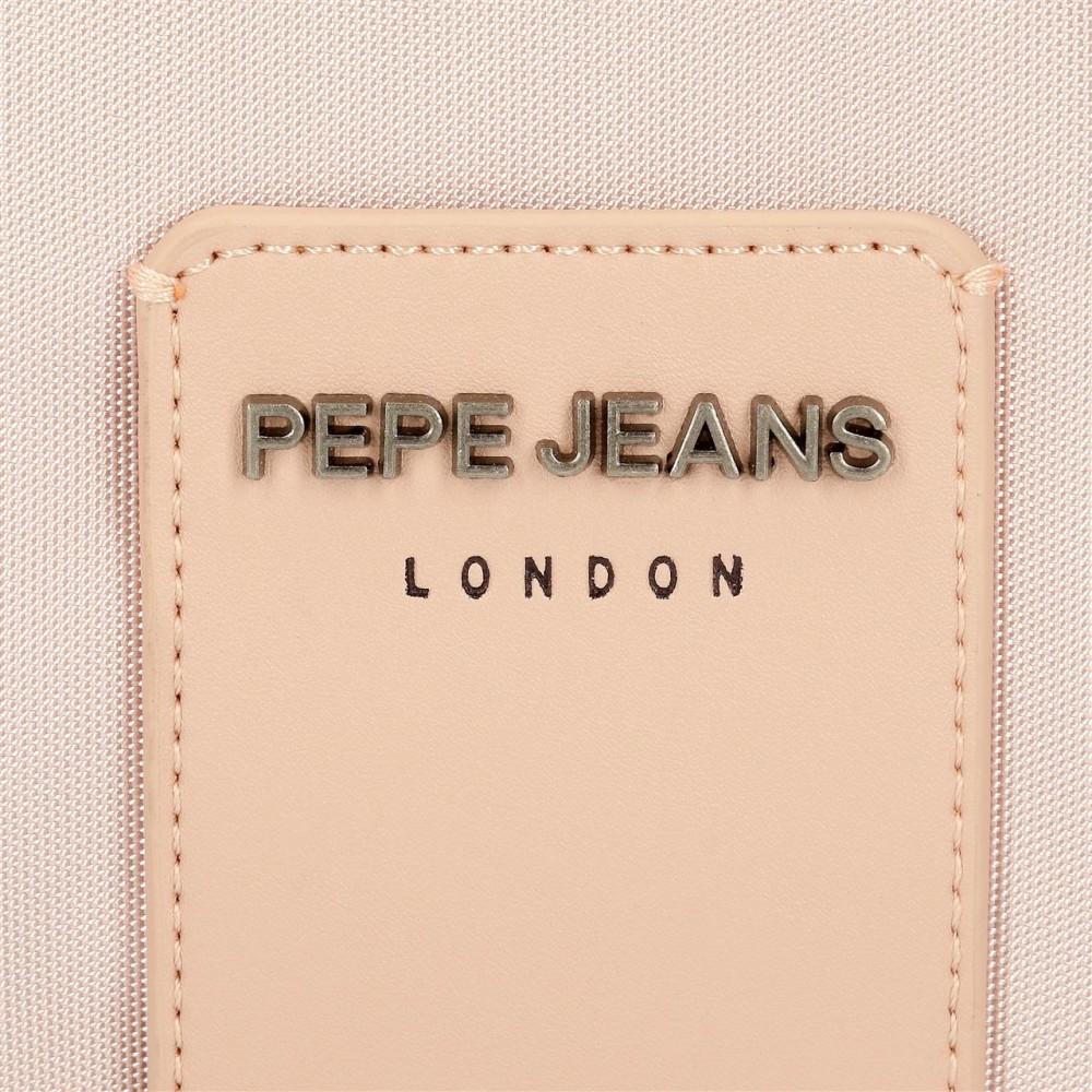 Geanta crossbody dama, 2 compartimente Pepe Jeans Mia, roz, 25x18x7 cm