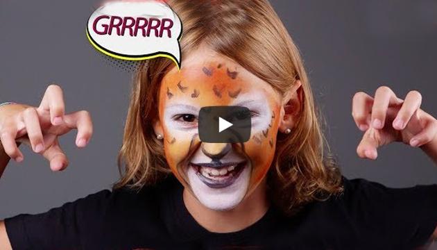 Cum sa faci un machiaj tigru cu ajutorul vopselei de pictat pe fata Jovi
