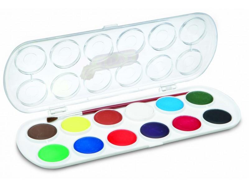 Acuarele 12 culori/set (33 mm diametru)+pensula Jovi