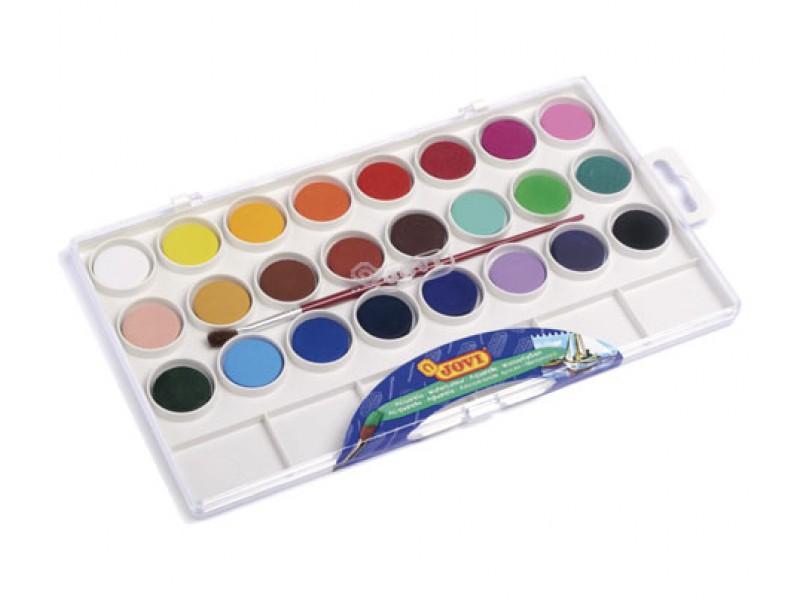 Acuarele 24 culori/set (22 mm diametru)+ pensula Jovi
