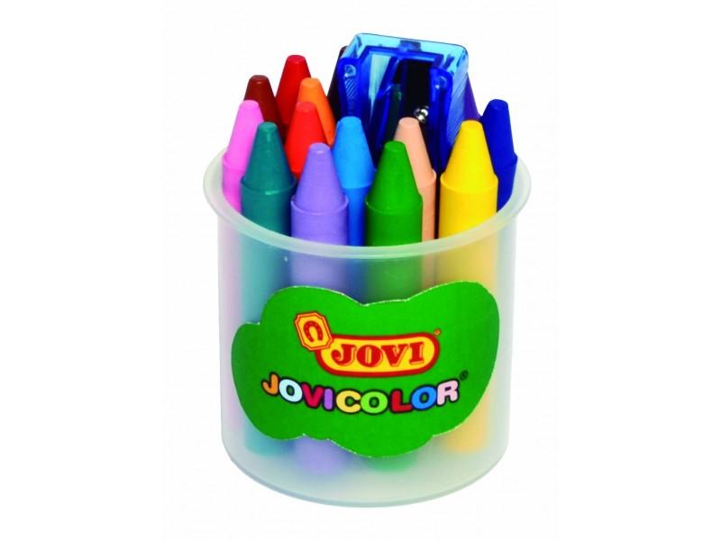 Creioane cerate 16 culori/suport + ascutitoare Jovi