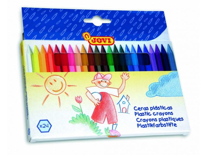 Creioane cerate hexagonale 24 culori/set Jovi