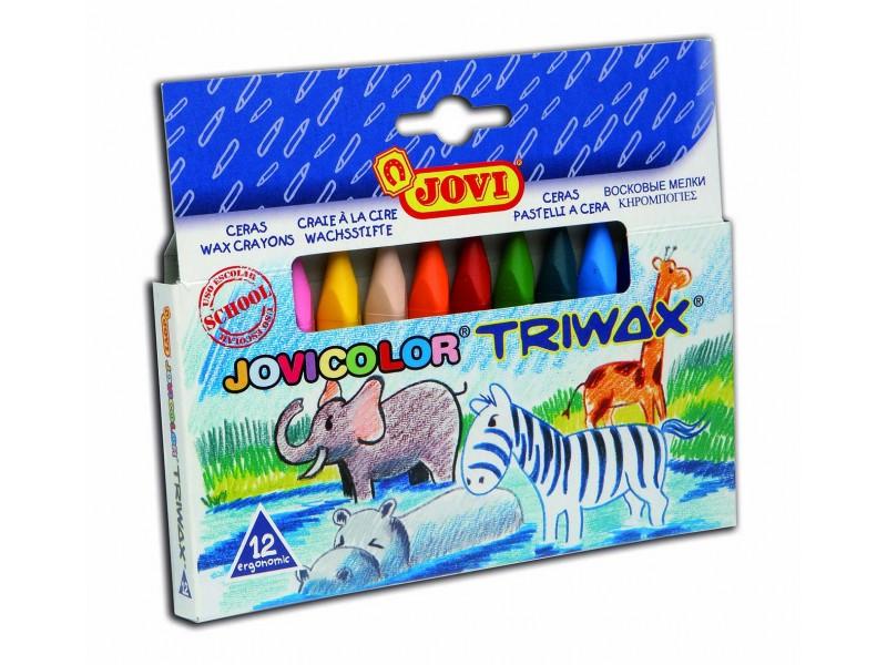 Creioane cerate triunghiulare 12 culori/set Jovi