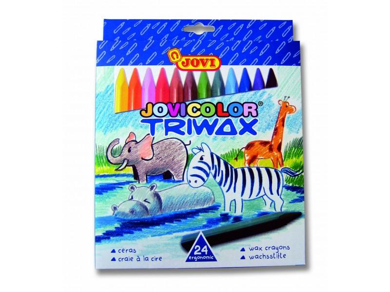 Creioane cerate triunghiulare 24 culori/set Jovi