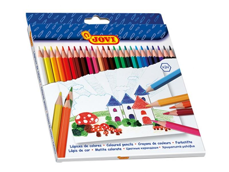 Creioane colorate din lemn 24 culori/set Jovi