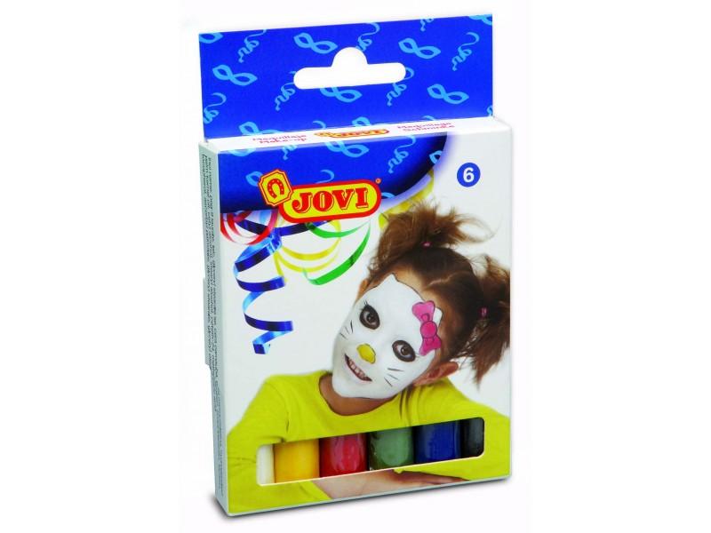 Creioane de pictat pe fata 6 culori 17 gr/set Jovi