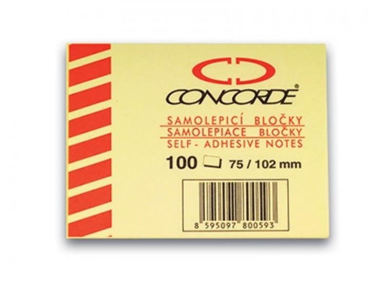 Notes autoadeziv 75x102mm 100 coli Concorde galben
