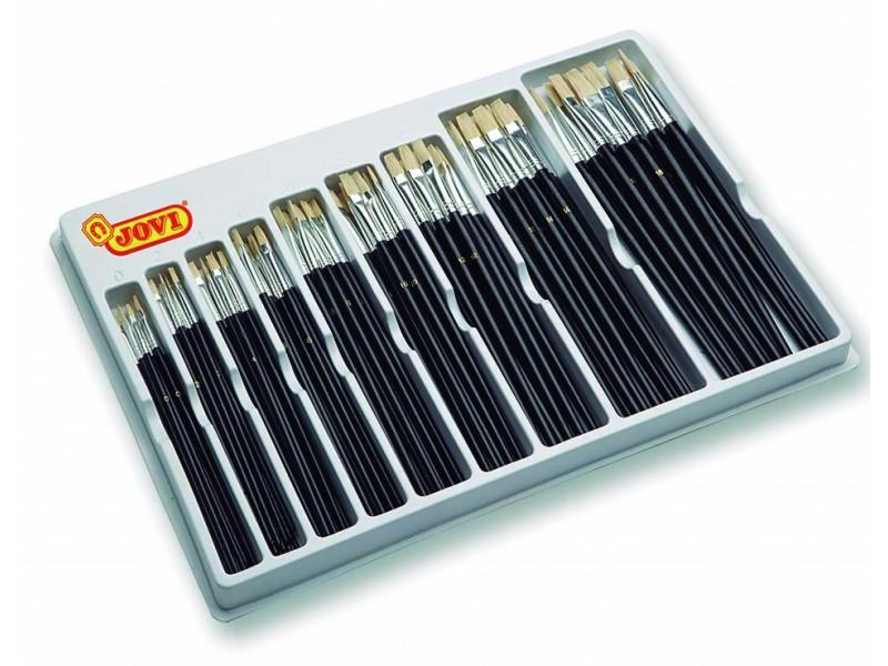 Pensule plate din par natural de porc diverse marimi 108 buc/display (nr.0,2,4,6,8,10,12,14,16) Jovi