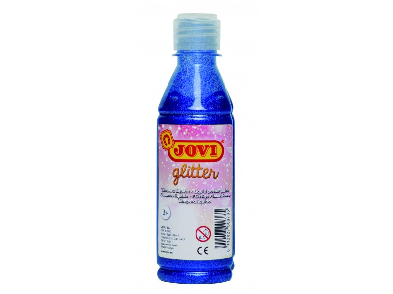 Tempera lichida cu sclipici albastru 250 ml/sticla Jovi