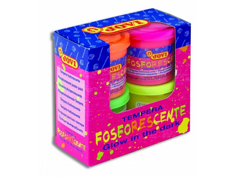 Tempera lichida fosforescenta 4 culori x 55 ml/culoare set Jovi