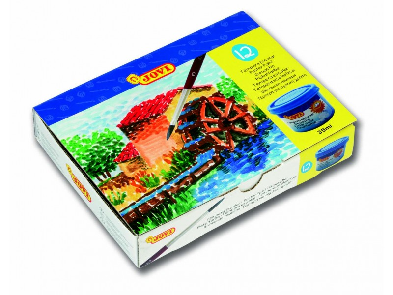 Tempera scoala 12 culori x 35 ml/culoare + pensula/set Jovi