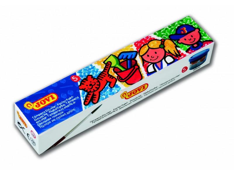Tempera scoala 5 culori x 35 ml/culoare + pensula/set Jovi