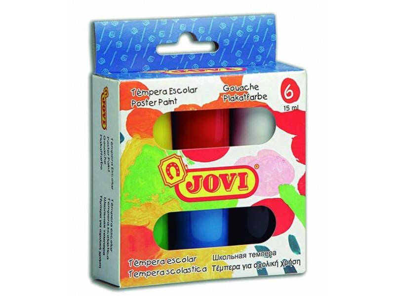 Tempera scoala 6 culori x 15 ml/culoare set Jovi