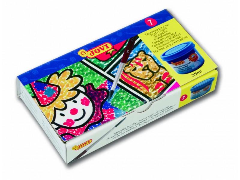 Tempera scoala 7 culori x 35 ml/culoare + pensula/set Jovi