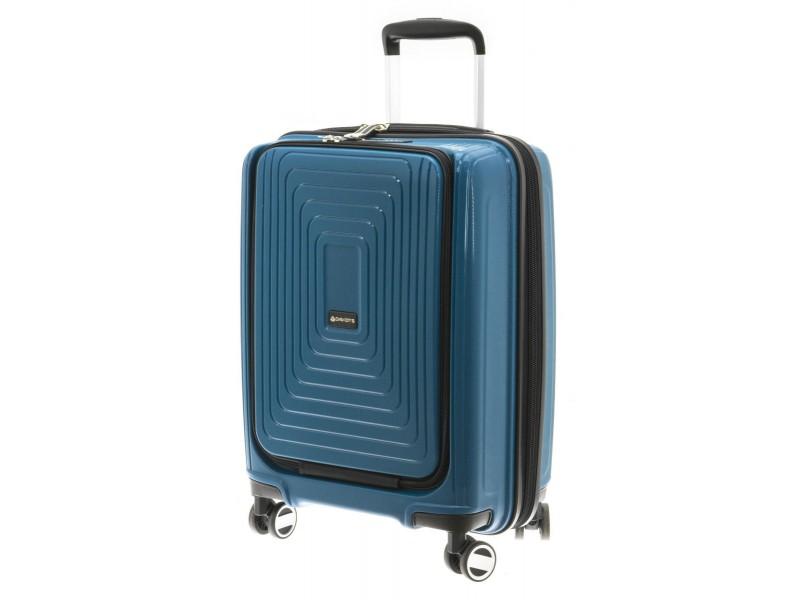 Troler polipropilena cu compartiment laptop 55 cm albastru petrol Davidts Wallaby