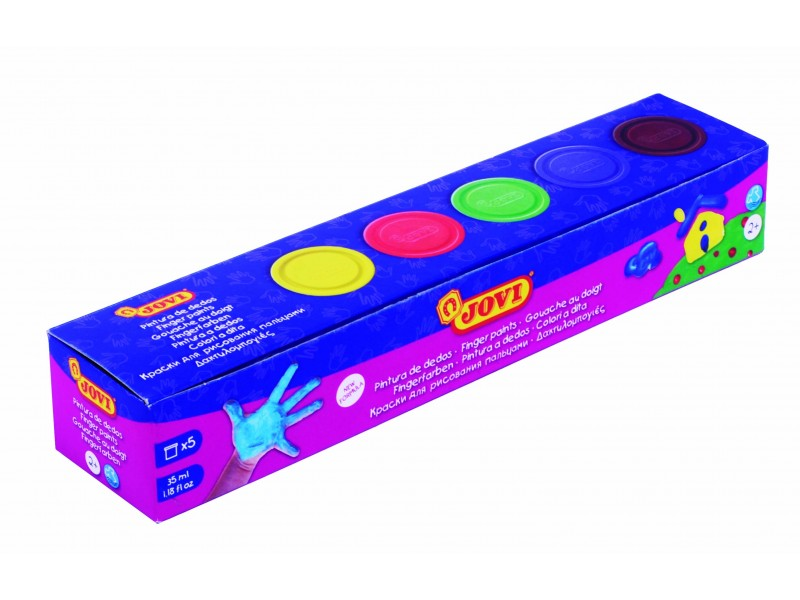 Vopsea pt pictat cu degetele 5 culori x 35 ml/cutie Jovi
